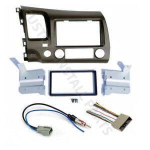06 11 Honda Civic Taupe Radio Stereo Double 2 Din Dash Kit W Wiring Harness