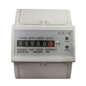 Power Watt Hour Meter Energy Monitor Kwh Din rail 20 80 a 1 Phase 2 Wire 80a
