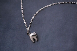 Teeth Shape Necklace Dental Dentist Assistant Oral Tooth Girl Jewelry Silver 1