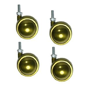 Set Of 4 Swivel Brass Planet Ball Casters 2 1 2 With 5 16 18 X 7 8 Threaded