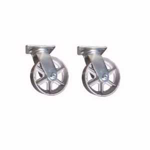 Set Of 2 Heavy Duty Spoked Cast Iron Swivel Plate Casters 8 X 2 Wheel