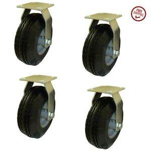 Set Of 4 Marathon Industries 00315 Flat Free Rigid Plate Casters With 8