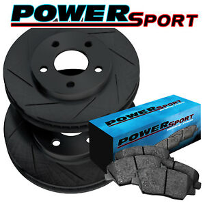 Fit 1994 2000 Kia Sephia Spectra Front Black Slotted Brake Rotors ceramic Pads