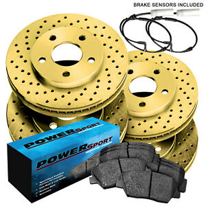 full Kit powersport Gold Cross Drilled Rotors And Ceramic Pads Bgxc 34033 02