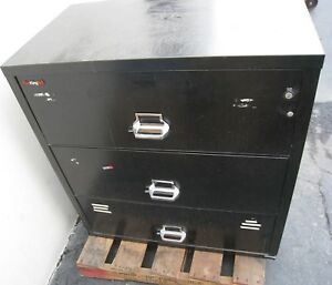 Fire King Lateral Fireproof Filing Cabinet Safe 3 3822 c Black H 40 X W 37 5