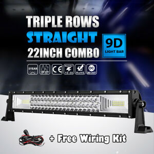 Tri row 22inch 1296w Cree Led Work Light Bar Combo Offroad Suv Ute Lamp 4wd 24