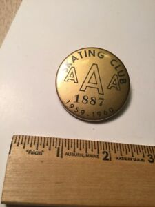 Antique Roller Skating Club 1959 1960 Button Pinvintage Nice Collectible