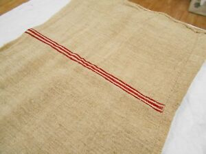 A Vtg Antique Red Stripe European Hemp Linen Fabric Feed Sack Grain Bag 20x52