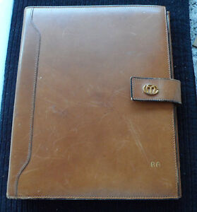 Vintage Mark Cross Italy Caramel Leather Day Timer Planner Organizer 8 X 10 5