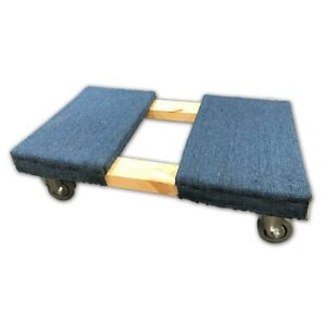 4 Wheel Carpeted Office Move Dolly With 3 5 Deluxe Gray Casters