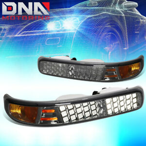 For 1999 2002 Chevy Silverado 1500 2500 3500hd Pair Led Look Bumper Light Smoked