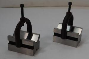 New Pair National Precision Ground V blocks And Clamps 1 5 8 x1 3 4 x2 3 4 d