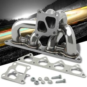 Long Tube Ss Chrome 16g Twin Scroll Turbo Manifold For 02 07 Lancer Evo 7 8 9