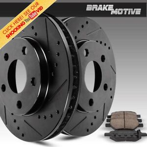 For 2006 2007 2008 2011 Civic Front Black Drill Slot Brake Rotors Ceramic Pads