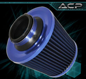 4 Blue High Flow Dry Cone Cold Air Short Ram Turbo Intake Filter For Ford