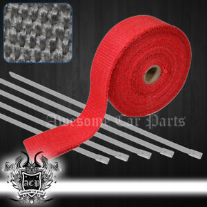 360 30ft Engine Heat Wrap Shield Cover High Temp Turbo Header Zip Ties Kit Red