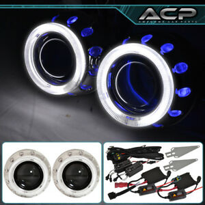 For Toyota 2 5 Projector Retrofit Shroud Bi Xenon Dual Halo Angel Eyes Blue