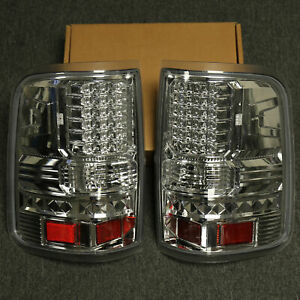 For 04 08 Ford F150 Led Tail Light Chrome Housing Clear Lens Red Reflectors