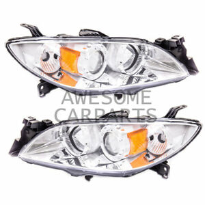 Projector Headlight Chrome Housing Amber Reflector Clear Lens For 04 09 Mazda 3