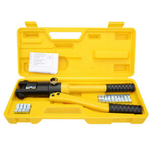 12 Ton Hydraulic Cable Lug Terminal Crimper Crimping Tool With 8 Dies 10 120mm