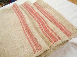 Vtg Antique Hot Pink Stripe European Hemp Linen Fabric Feed Sack Grain Bag 19x50