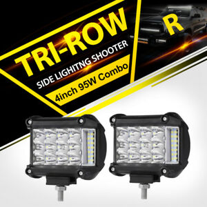 Work Cube Side Shooter Led Light Bar Spot Flood Driving Fog Pod 4 95w Cree X2