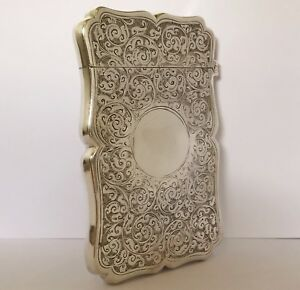 Antique Victorian Solid Silver Card Case Box Birmingham 1893 Colen Cheshire