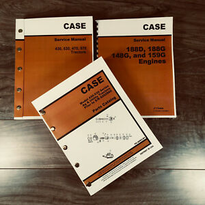 Case 430 530 Tractor Service Engine Manual Parts Catalog Set Prior To S n8262800