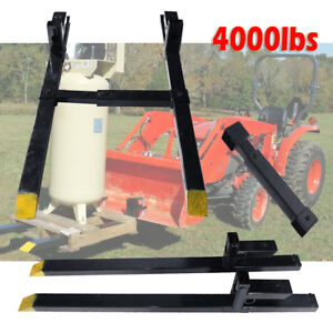 Hd 4000lbs Clamp On Pallet Forks Bucket Tractor Chain Stabilizer Bar For Loader