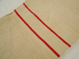 Vtg Antique Dbl Red Stripe Hemp Linen King Pillowcase Feed Sack Grain Bag 22x43