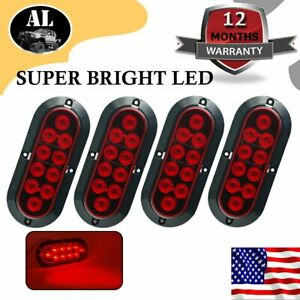4x 10 Led 6 Red Oval Surface Mount Brake Stop Tail Light Car Truck Trailer Us