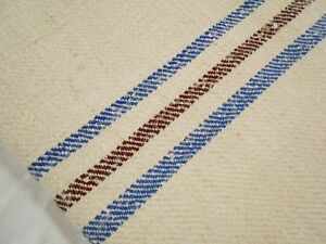 Vtg Antique Brown Blue Stripe European Hemp Linen Feed Sack Grain Bag 20x44