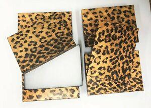 6 Black Leopard Jewelry Gift Boxes Cotton Filled 5 1 4 X 3 3 4x 7 8