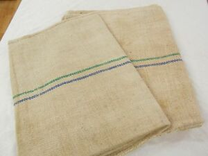 Pair Vtg Antique Green Blue Stripe Hemp Linen King Pillowcase Feedsack Grain Bag