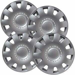 Set Of 4 15 Inch Snap On Silver Hub Caps For Volkswagen Golf