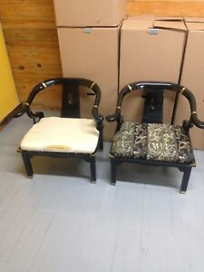 James Mont Style Pair Of Asian Horse Shoe Back Arm Chairs Century Chair