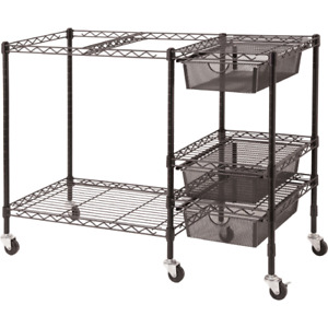 Vertiflex Mobile File Cart All metal Frame Built in Hanging Rails 3 Drawers New