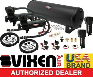 Air Suspension Kit System For Truck Car Bag Ride Lift Dual Compressor 4g Tank