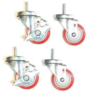 Set Of 4 Stem Casters W Side Lock Brakes 3 Red Poly Wheels 3 8 Threaded Stems