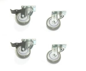 Set Of 4 Plate Casters With 3 1 2 Gray Poly Wheel 2 With Brakes