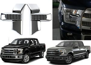 Chrome Headlight Grill Trim Inserts For 2015 2017 Ford F150 New Free Shipping