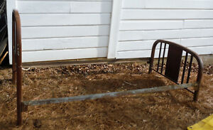 Antique Metal Twin Size Vintage Bed W Rails Restoration Ready