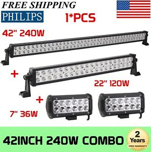 Philips 42inch Led Light Bar Combo 22in 7 Cree Pods Offroad Suv 4wd Ford Jeep