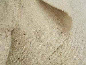 Vtg Antique No Stripe European Hemp Linen Fabric Feed Sack Grain Bag 19x44