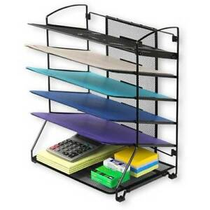Home Office 6 tray Desktop Document Letter Tray Organizer Holder Stable Black