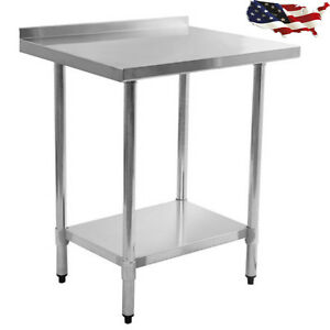 24 X 30 High Quality Stainless Steel Food Prep Table Mount Shelf W backsplash