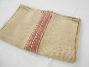 Vtg Antique Mauve Stripe European Hemp Linen Fabric Feed Sack Grain Bag 16x44