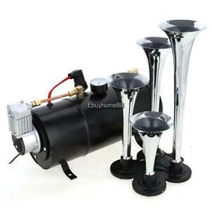 Hot Universal 4 Trumpets 100psi Air System 12v Train Horn Kit For Car Truck Us
