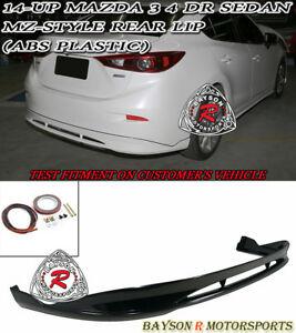 Mz Style Rear Bumper Lip Abs Plastic Fits 14 18 Mazda 3 4dr Sedan