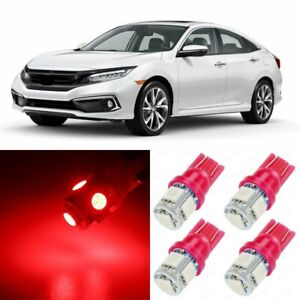 10 X Ultra Red Interior Led Lights Package For 2013 2019 Honda Civic tool